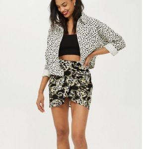 TOPSHOP leopard print chain twist front miniskirt